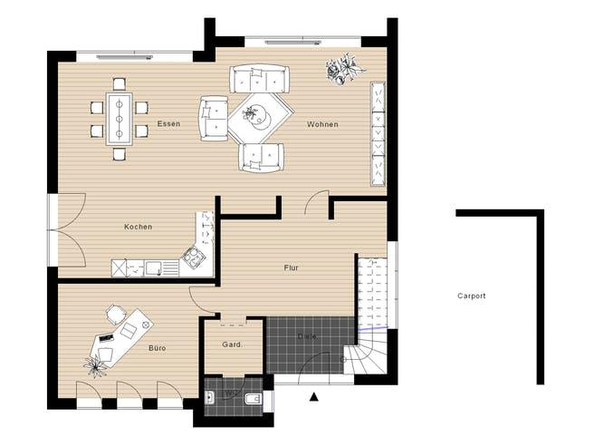 Flachdach210 von Meisterwerk Massivhaus Grundriss 1