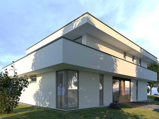 Flachdach250 von Meisterwerk Massivhaus Außenansicht 1