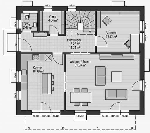 Musterhaus Falkenberg B 168 Floorplan 1