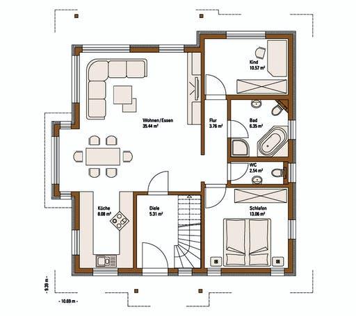 FH Weiss - Musterhaus FELLBACH FAMILY Floorplan 1