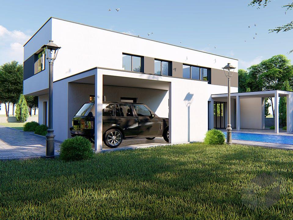 Designer Haus mit Außenlounge von Modern Immo Außenansicht