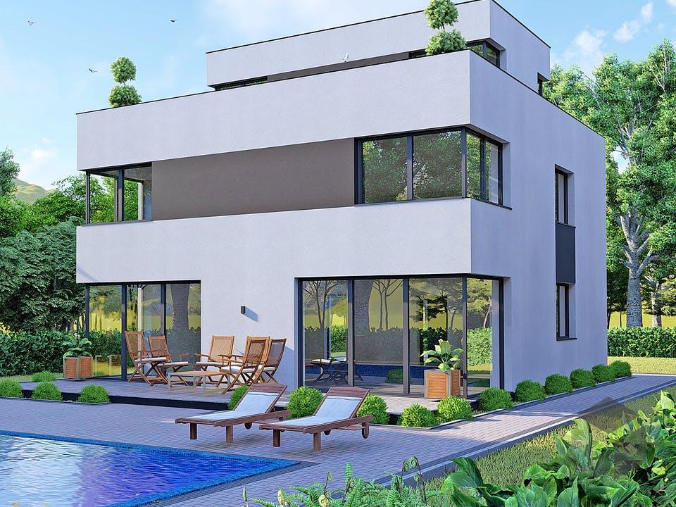 Modernes Bauhaus mit Dachterrasse von Modern Immo Außenansicht