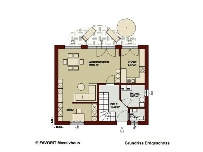 Noblesse 126 von Favorit Massivhaus Grundriss 1