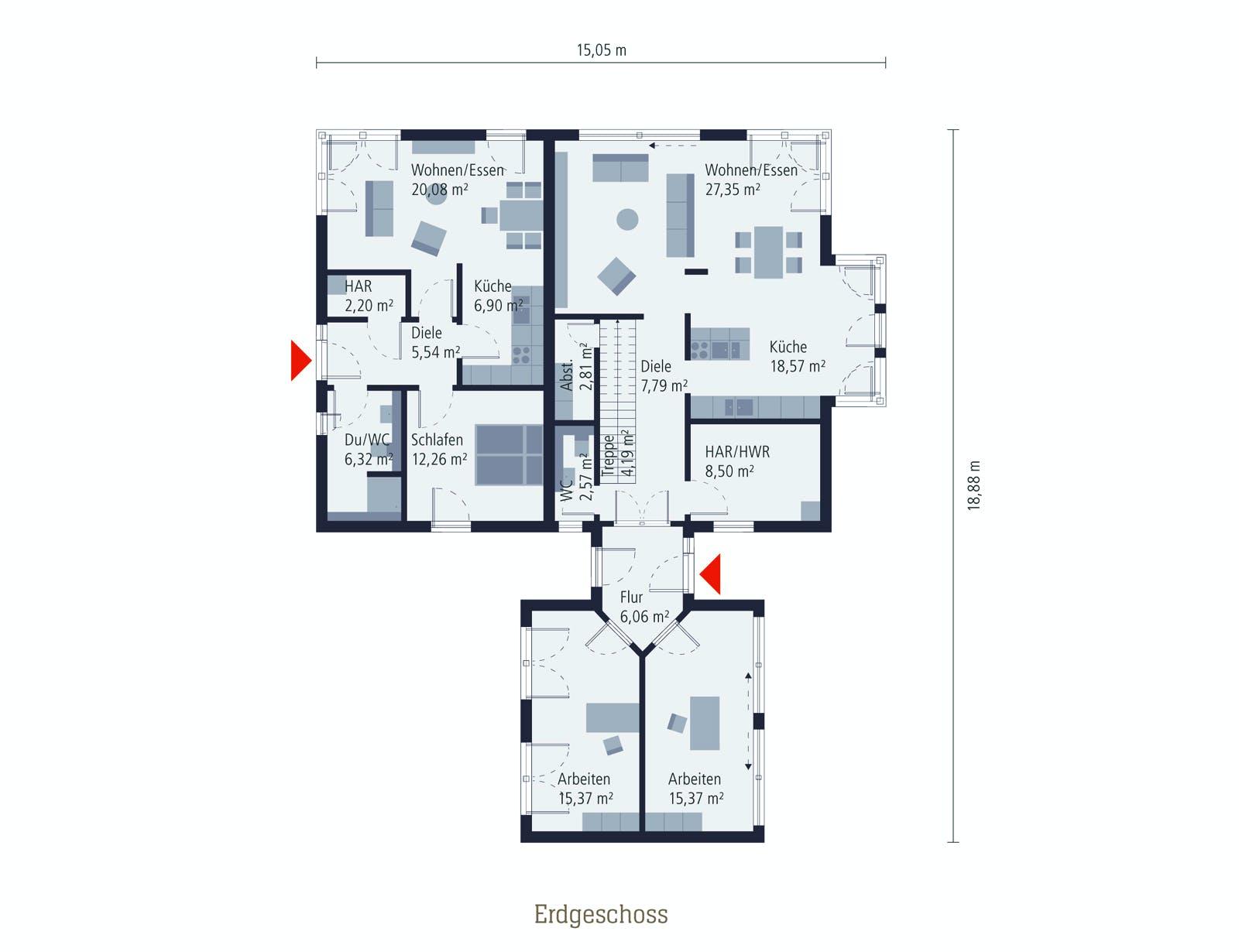 Grundriss eines Zweifamilienhauses mit Einliegerwohnung im Erdgeschoss
