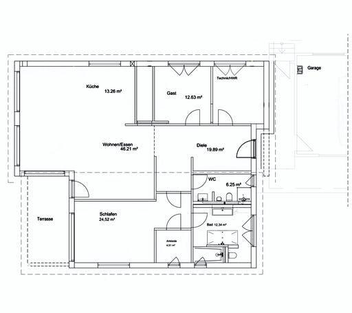 Luxhaus Pultdach Bungalow 156 Floorplan 1