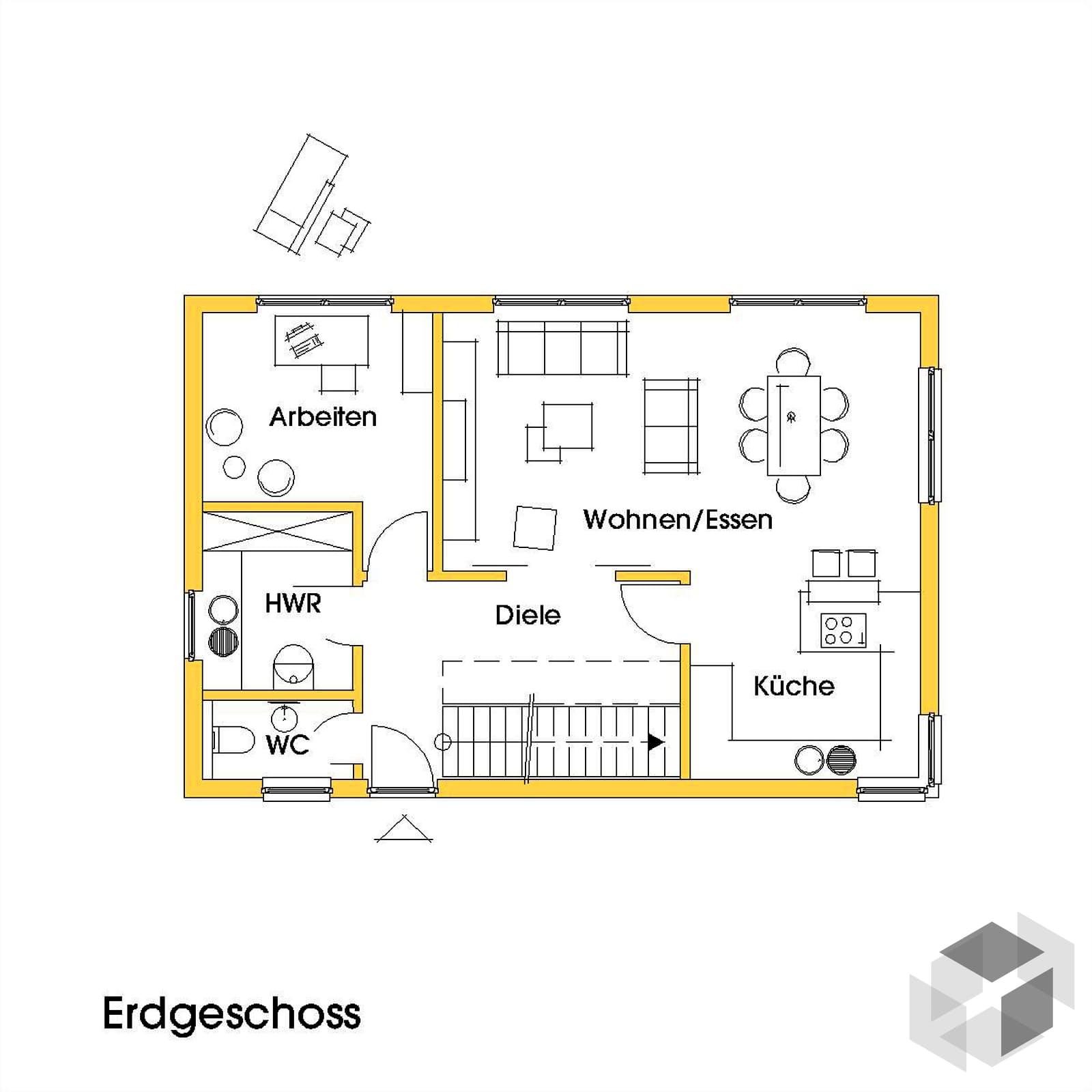 petra 2 kfw effizienzhaus 40 von dammann haus. Black Bedroom Furniture Sets. Home Design Ideas