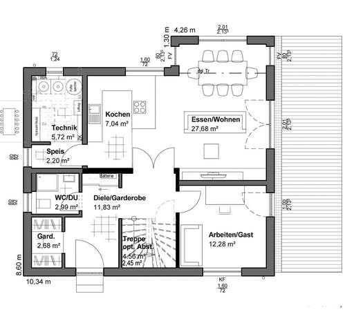 Luxhaus Planungsidee Flachdach Floorplan 1