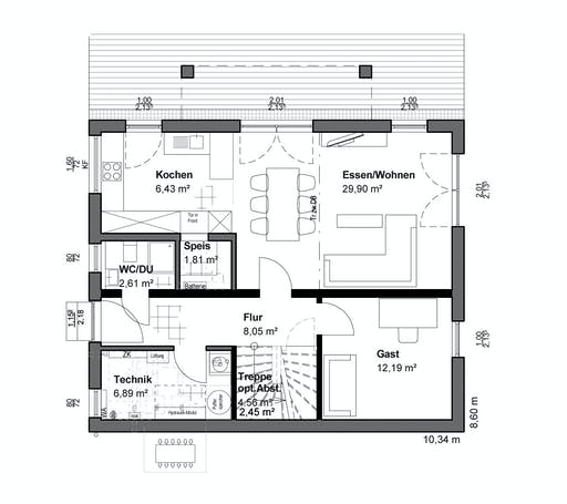 Luxhaus Planungsidee Pultdach Klassik Floorplan 1