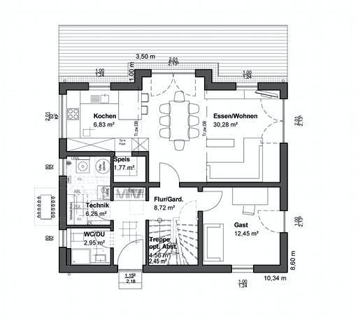 Luxhaus Planungsidee Pultdach Modern Floorplan 1