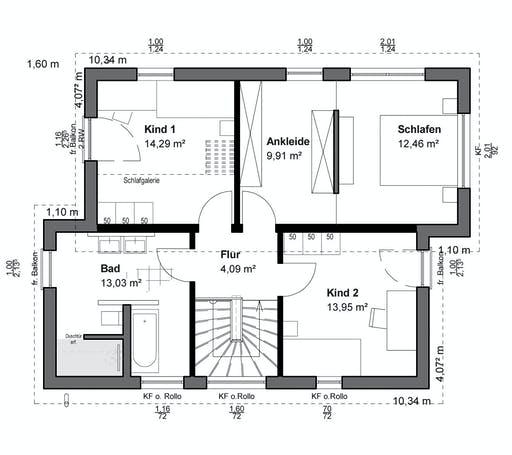Luxhaus Planungsidee Pultdach Modern Floorplan 2