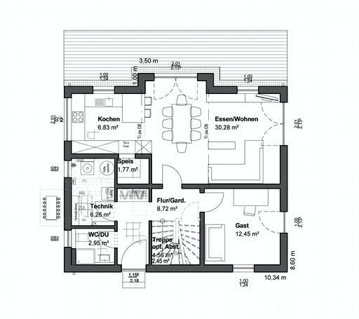 Luxhaus Planungsidee Satteldach Klassik Floorplan 1