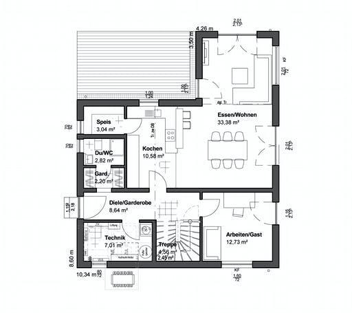 Luxhaus Planungsidee Satteldach Landhaus Floorplan 1