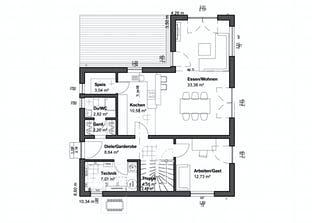 Planungsidee Satteldach Landhaus Grundriss