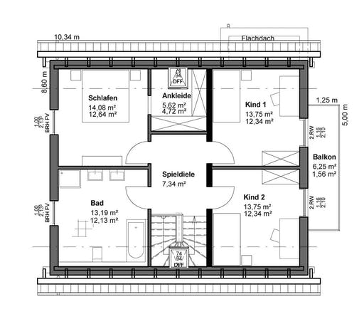 Luxhaus Planungsidee Satteldach Landhaus Floorplan 2