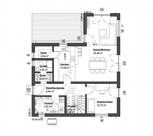 Luxhaus Planungsidee Satteldach Modern Floorplan 1