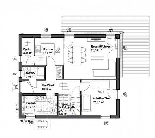 Luxhaus Planungsidee Walmdach Floorplan 1