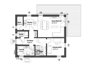 Planungsidee Walmdach Grundriss