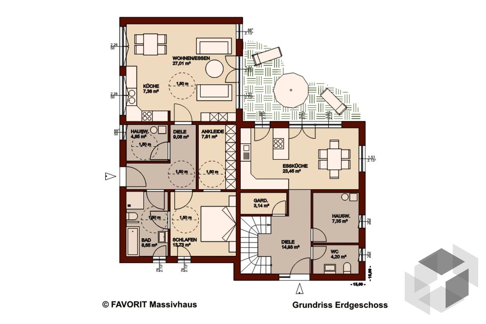 premium 171 78 von favorit massivhaus komplette daten bersicht. Black Bedroom Furniture Sets. Home Design Ideas