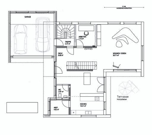 Luxhaus Pultdach Klassik 157 Floorplan 1