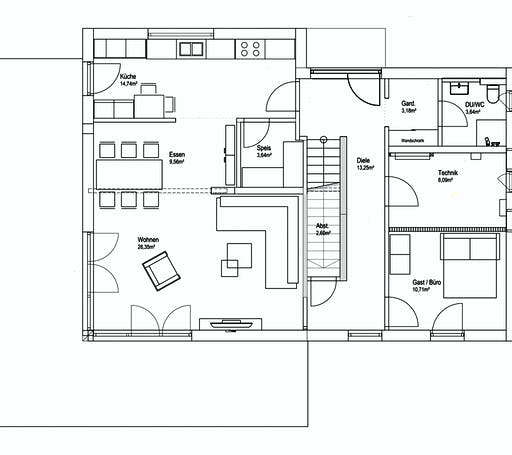 Luxhaus Pultdach Klassik 182 Floorplan 1