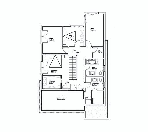 Luxhaus Pultdach Klassik 197 Floorplan 2
