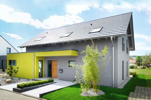 Fertighaus mit zweifarbiger Putzfassade R 131.20 exterior 0