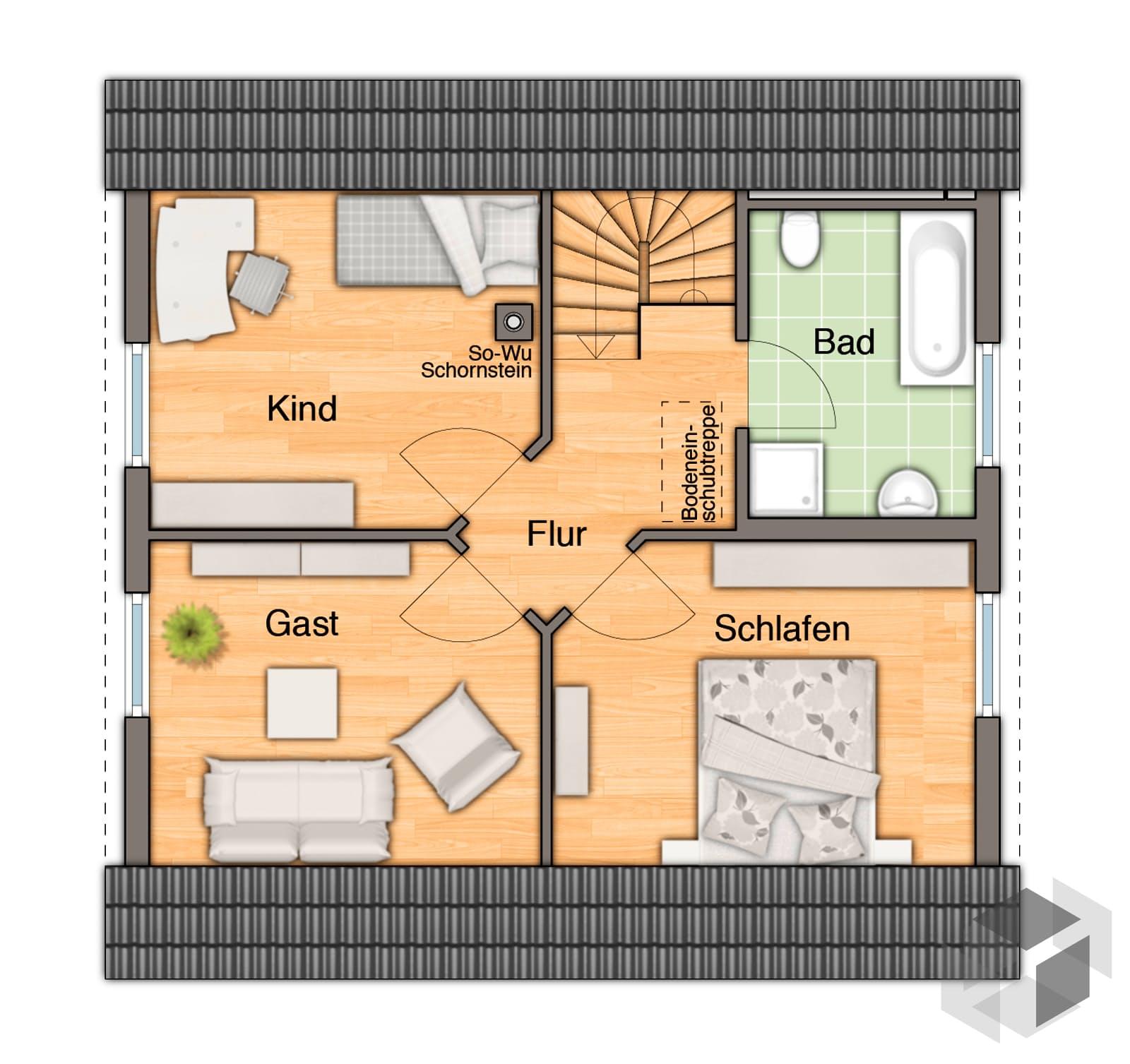 Raumwunder 100 trend von town country haus komplette for Grundriss einfamilienhaus 100 qm