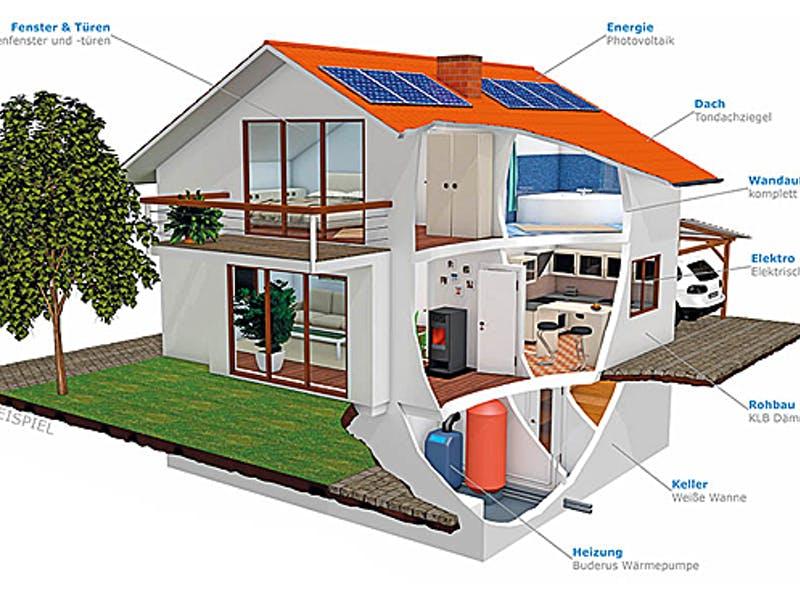 Grafik Hausquerschnitt von Röder Massivhaus