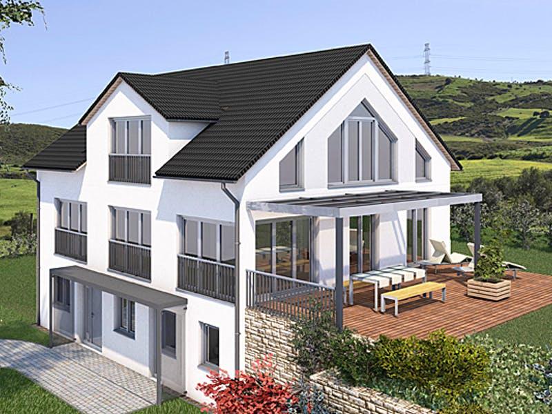 Dreigeschossiges Haus mit Satteldach von Saale-Haus