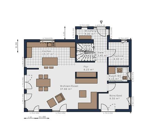 Schwabenhaus - Solitäire E-155 E1 Floorplan 1