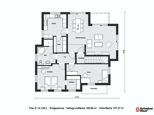 E 10-129.2 - Skandinavischer Bungalow von SchwörerHaus Grundriss 1