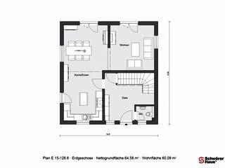 E 15-128.8 - Modernes Landhaus von SchwörerHaus Grundriss 1