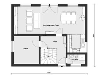 E 15-143.29 - Haus mit Vordach von SchwörerHaus Grundriss 1