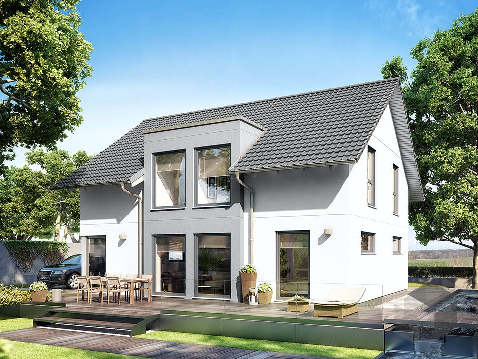 E 15-143.32 - Haus mit Flachdachgaube von SchwörerHaus Außenansicht