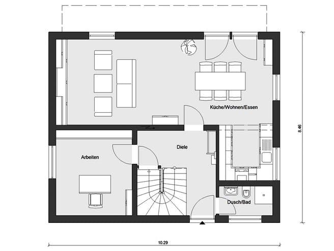 E 15-143.33 - Haus mit Pultdach von SchwörerHaus Grundriss 1