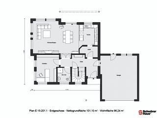 E 15-201.1 - Plusenergiehaus von SchwörerHaus Grundriss 1