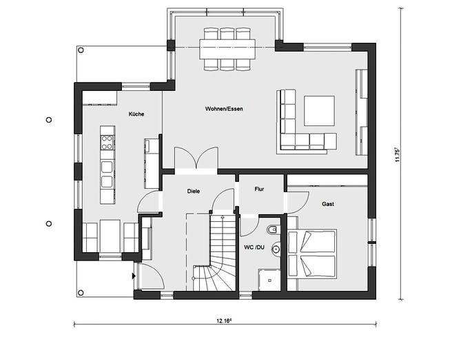 E 15-205.1 - Haus mit Wintergarten von SchwörerHaus Grundriss 1