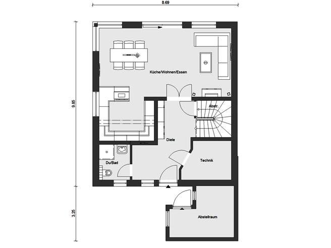 E 20-135.4 - Doppelhaus als Effizienzhaus 40 Plus von SchwörerHaus Grundriss 1