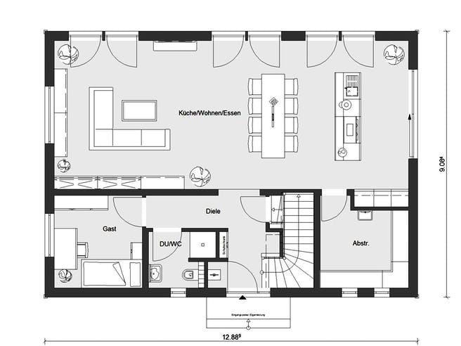 E 20-196.2 - Energiesparhaus von SchwörerHaus Grundriss 1