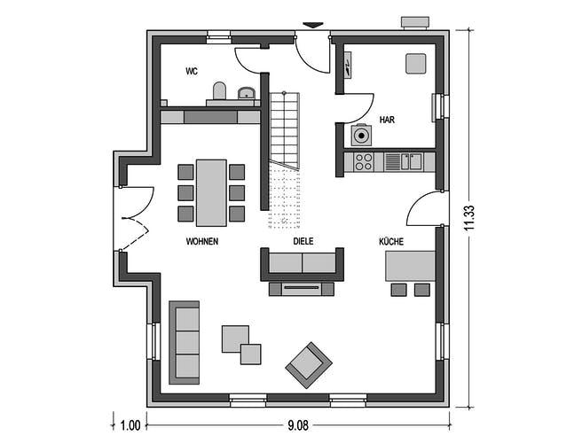 Alto 631 von Hausbau Düren Grundriss 1