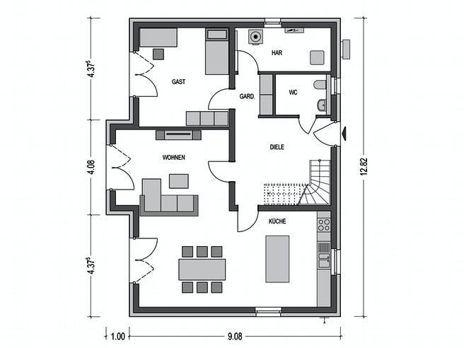Alto 650 von Hausbau Düren Grundriss 1