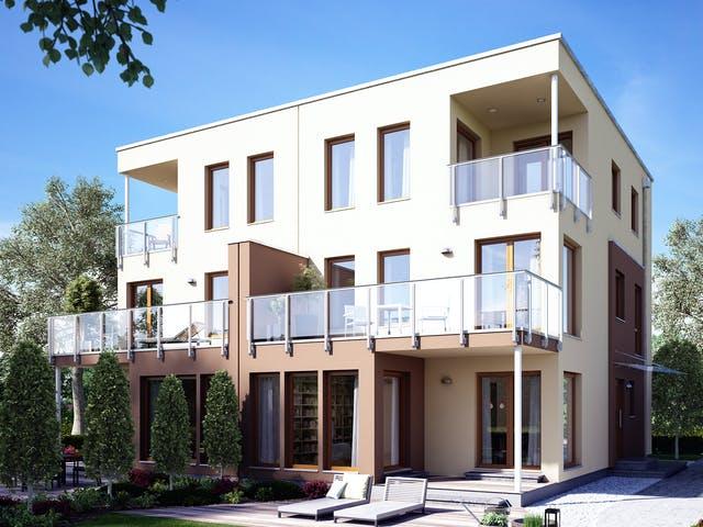 Kubushaus Doppelhaus mit Dachterrasse