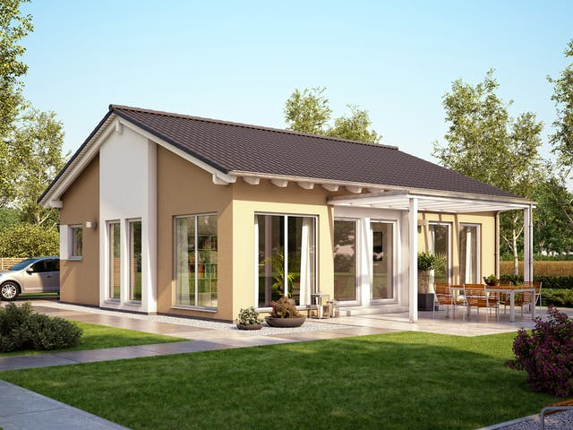 Kleiner Fertighausbungalow als Ausbauhaus von Living Haus