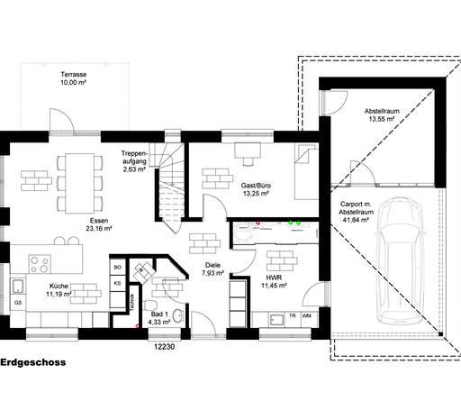 Stadtvilla Borgstedt mit Carport Floorplan 1