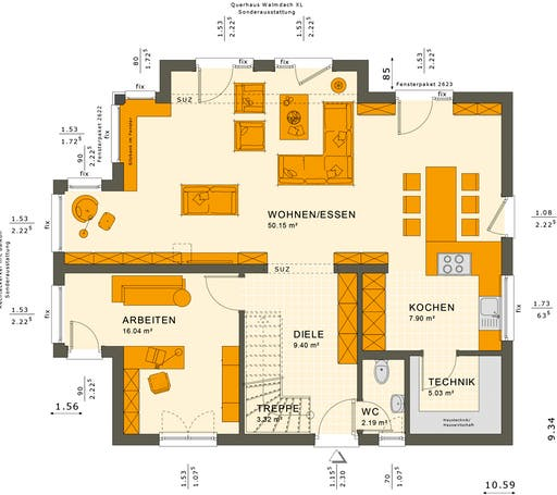 Sunshine 165 V6 Floorplan 1