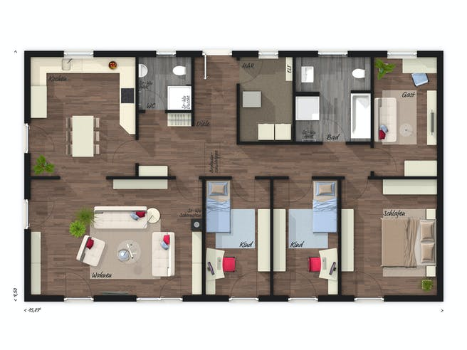 Bungalow 131 von Town & Country Haus Deutschland Grundriss 1