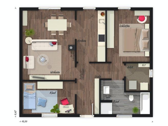 Bungalow 78 von Town & Country Haus Deutschland Grundriss 1
