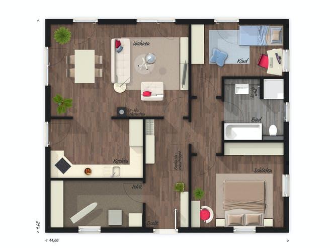 Bungalow 92 von Town & Country Haus Deutschland Grundriss 1