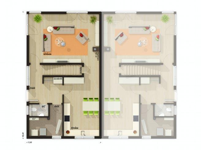 DH Aura 136 von Town & Country Haus Grundriss 1
