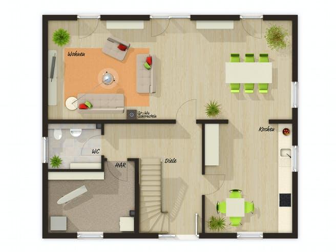 Mitwachshaus Flair 148 von Town & Country Haus Grundriss 1